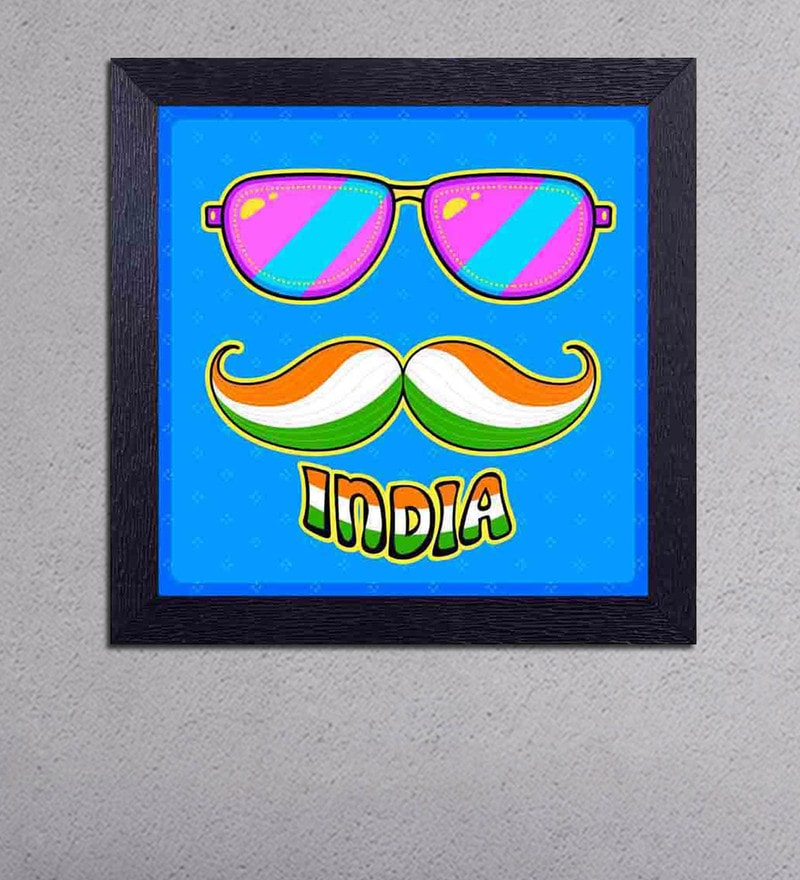 Multicolour Matt Paper Goggles with Moustaches & Tri Colour India Poster by Decor Design