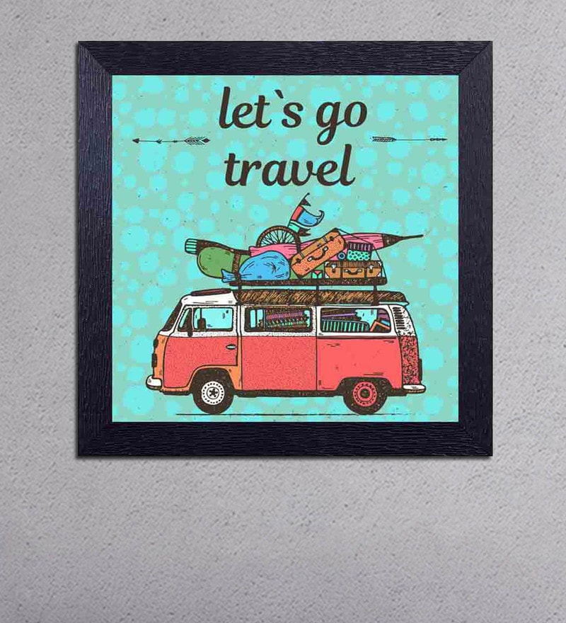 Multicolour Matt Paper Lets Go Travel Poster by Decor Design