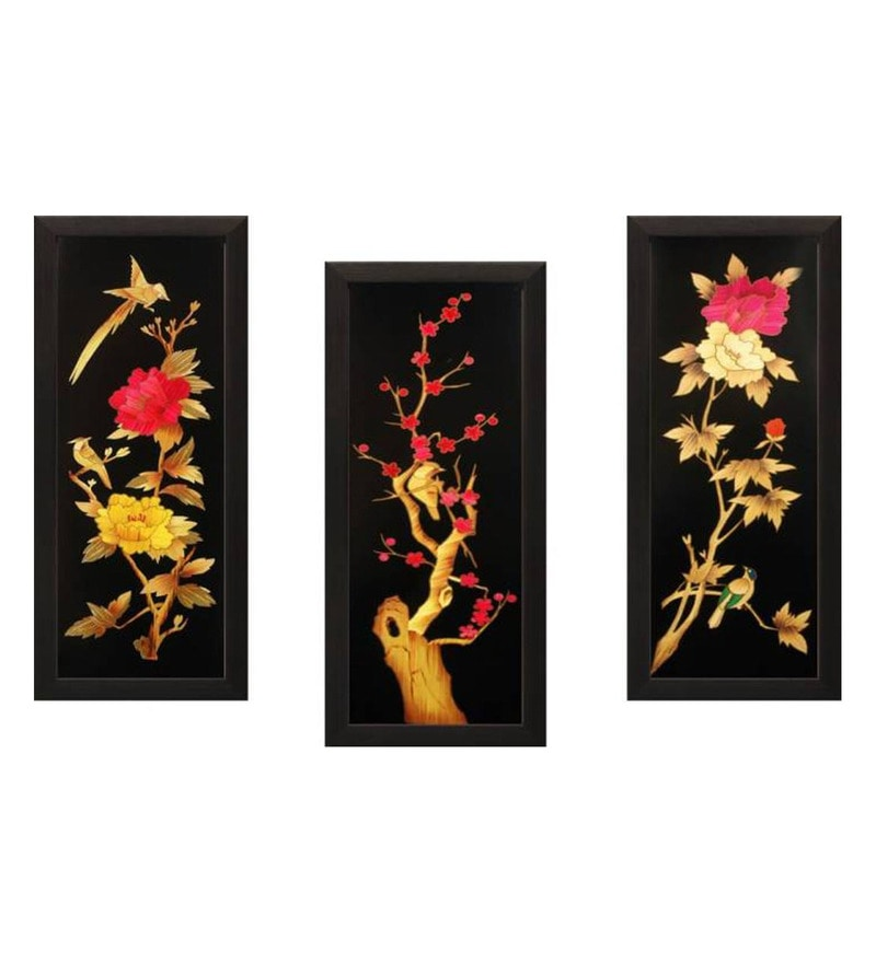 Multicolour MDF Art Panels Art of Jodhpur - Set of 3