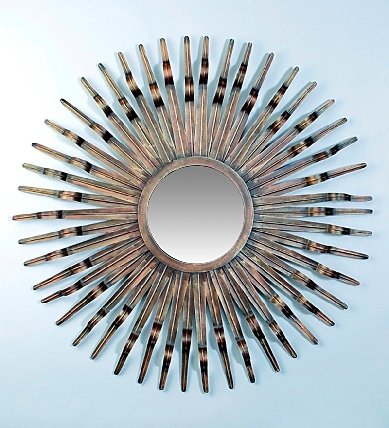 Multicolour Metal & Glass Sun Burst Mirror by Vedas