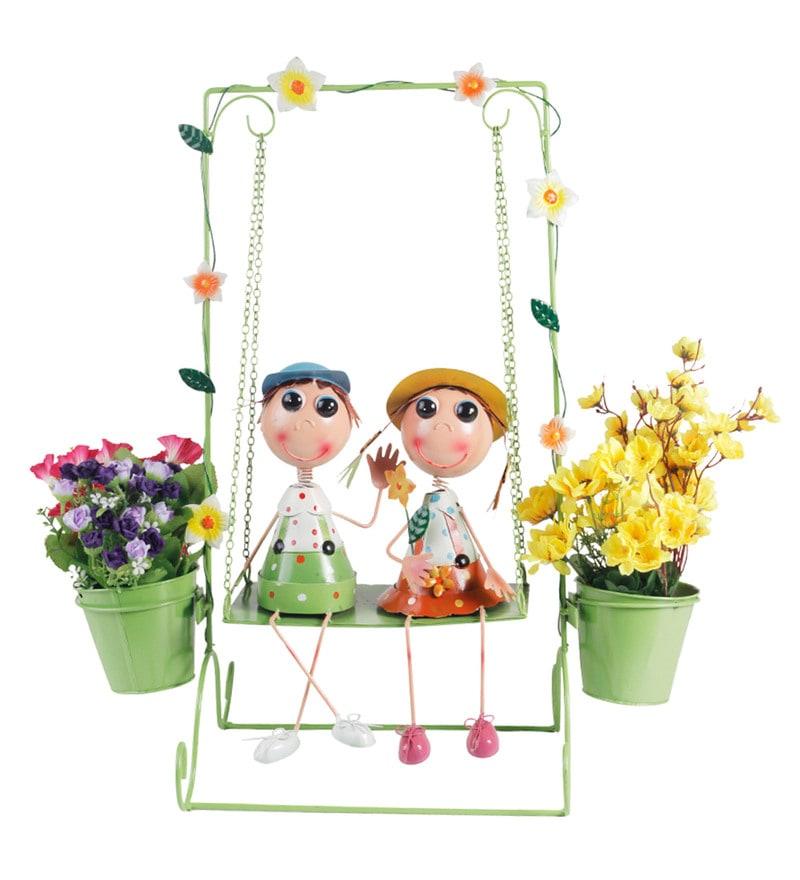 Multicolour Metal Boy & Girl on Swing Doll Decorative Planter by Wonderland