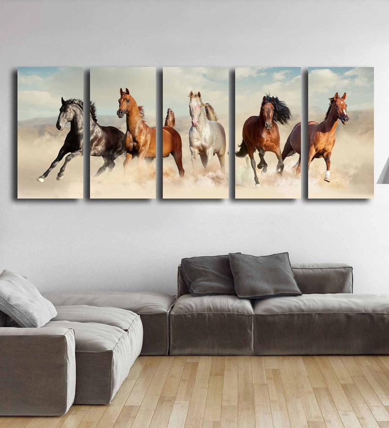 Multicolour Metal Five Horses Art Panels by Craftter - Set of 5