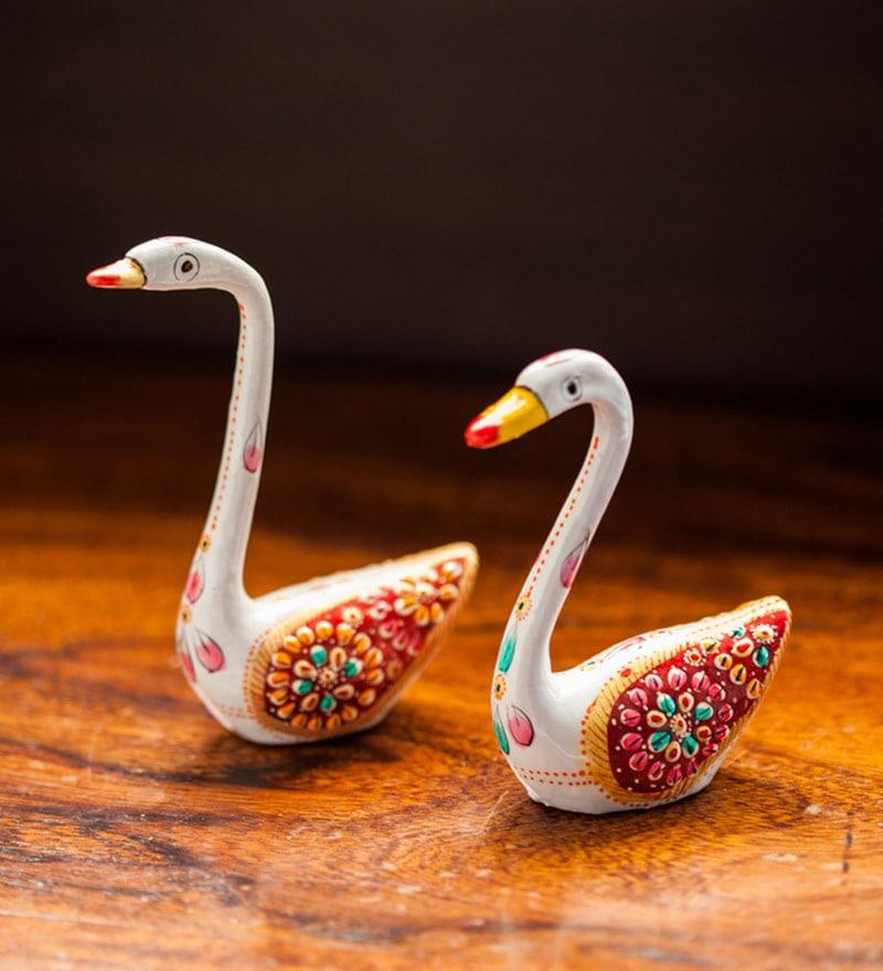 Multicolour Metal Meenakari White Swan Set Handenamelled Showpiece - Set of 2 by ExclusiveLane