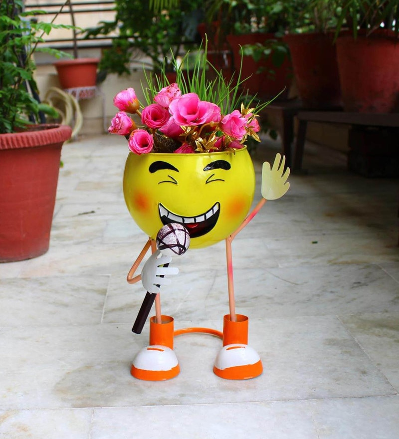 Multicolour Metal Smiley Decorative Planter by Wonderland