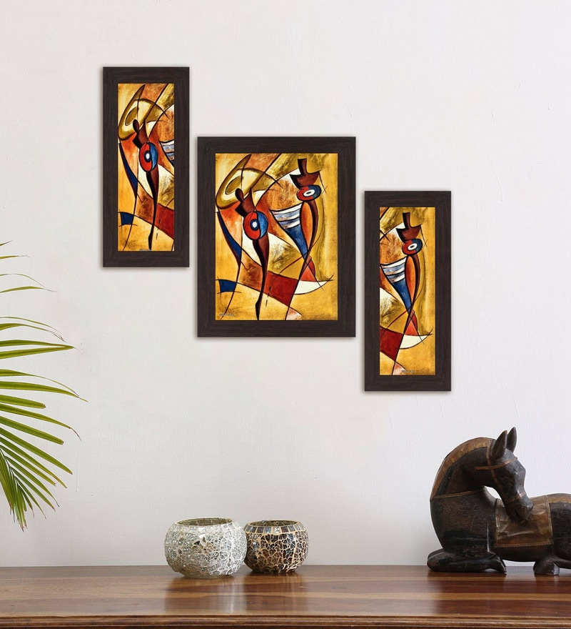 Multicolour Modern Set Of 3 Framed Wall Art Painting