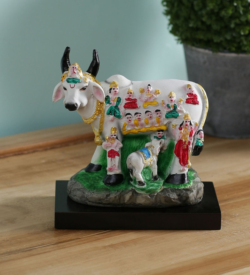 Multicolour Polyresin Kamdhenu Cow with Calf Showpiece by GAC Trend