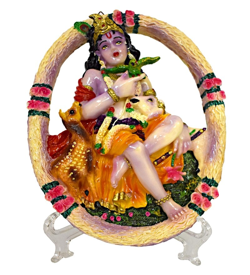 Multicolour Polyresin Krishana with Parrot Cow & Deer Relaxing Idol by Gallery99