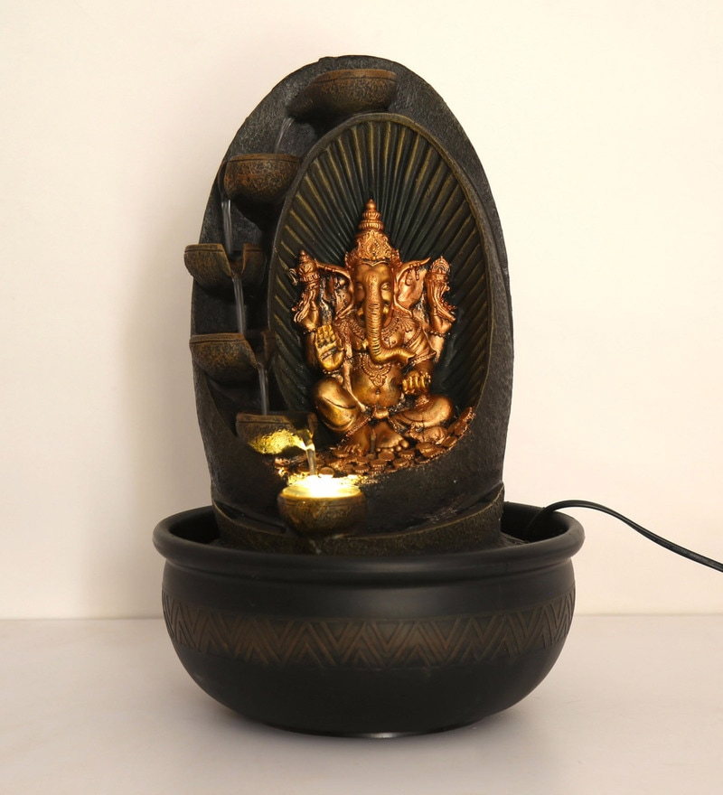 Multicolour Polyresin Lord Ganesha Spring Water Fountain with LED Lights by @Home
