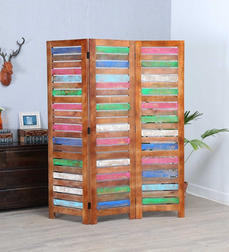 Multicolour Solid wood Paint My Partition Wooden Screen by Artisans Rose