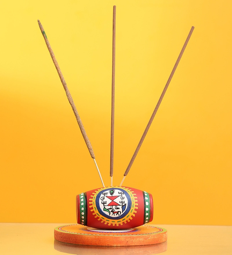 Multicolour Terracotta & Pine Wood 'Aromas in a Dholak' Warli Incense Holder by Exclusivelane