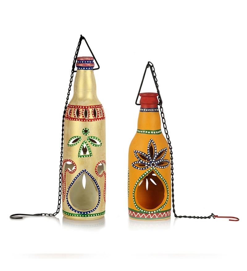 Multicolour Terracotta Handpainted Hanging Cum Table Tea Light Holder - Set of 2 by ExclusiveLane