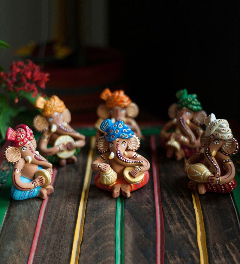 Multicolour Terracotta Musical Ganesha Idol - Set of 6 by ExclusiveLane