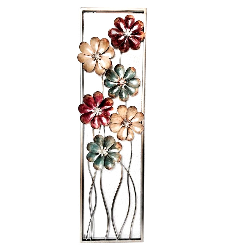 Multicolour W-Aru Tin Daisy Panel Iron Wall Hanging by Vedas