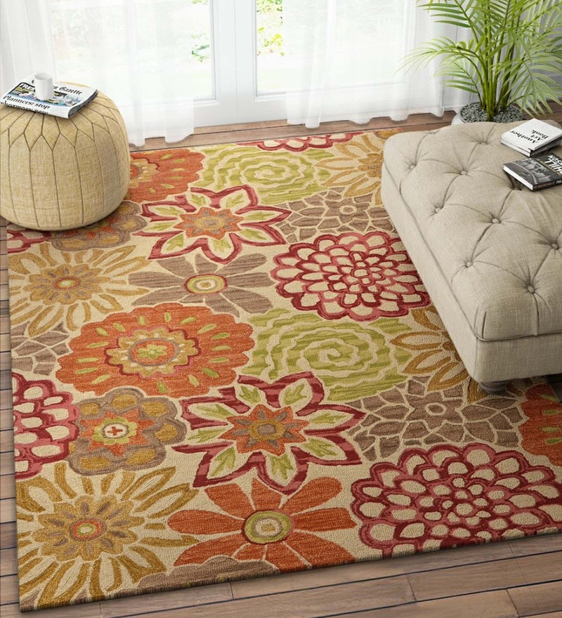 Multicolour Wool 90 x 60 Inch Carpet by Imperial Knots