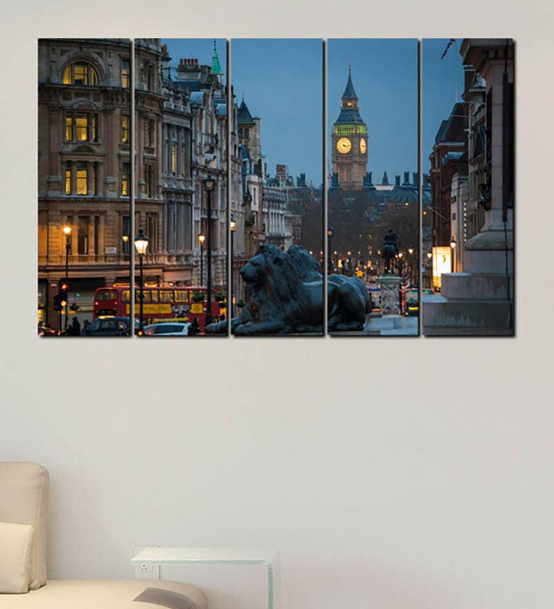 multiple frames printed city clock tower art panels like painting 5 frames by 999store - Multiple Photo Frames