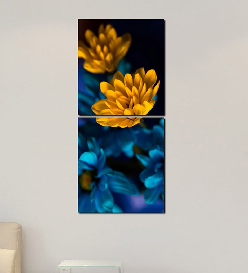 Multiple Frames Yellow Leaves Art Panels like Painting - 2 Frames by 999Store