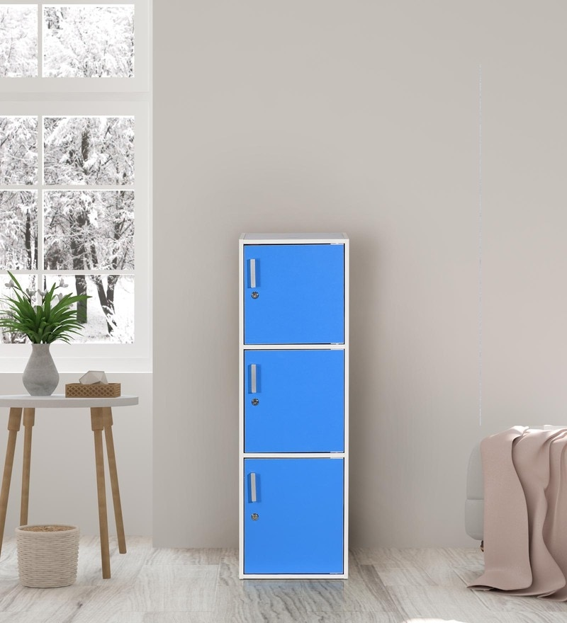 Multipurpose Three Level Cabinet in Blue Finish by Essance