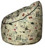 Muddha Bean Bag with Beans in Stamps Print by Sattva