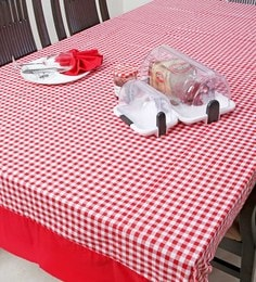 My Gift Booth Checks Red Cotton Table Cover
