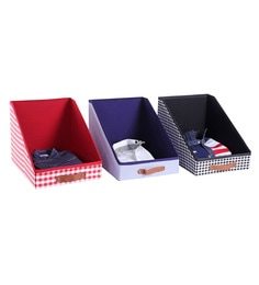 My Gift Booth Cotton & MDF 15L Multi Cloth Organisers - Set Of 3