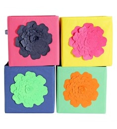 My Gift Booth Flower Non-Woven Storage Bins - Set Of 4