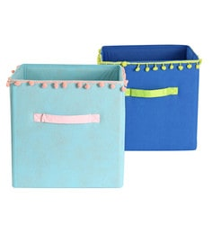 My Gift Booth Pom Pom Lace Non-Woven Storage Bins - Set Of 2 - 1627399