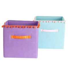 My Gift Booth Pom Pom Lace Non-Woven Storage Bins - Set Of 2 - 1627400