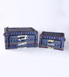 My Gift Booth Printed Nylon Navy Blue 30 L Storage Box - Set Of 2