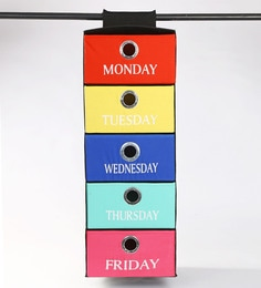 My Gift Booth Weekday Cotton 40 L Multicolour Wardrobe Organiser
