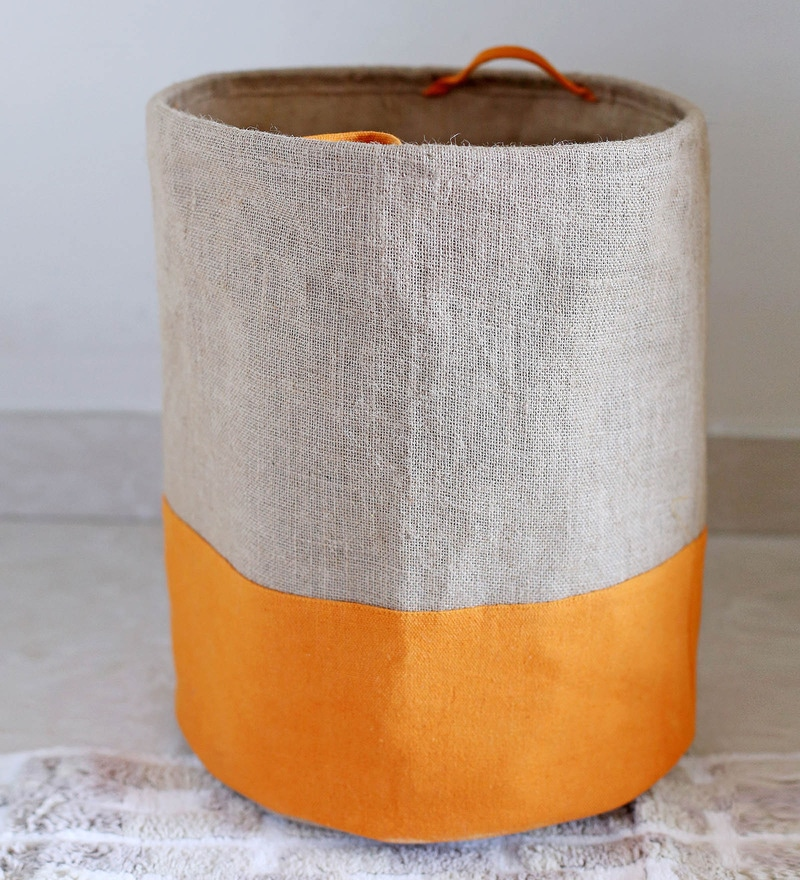 My Gift Booth Jute 20 L Beige Collapsible Laundry Bag