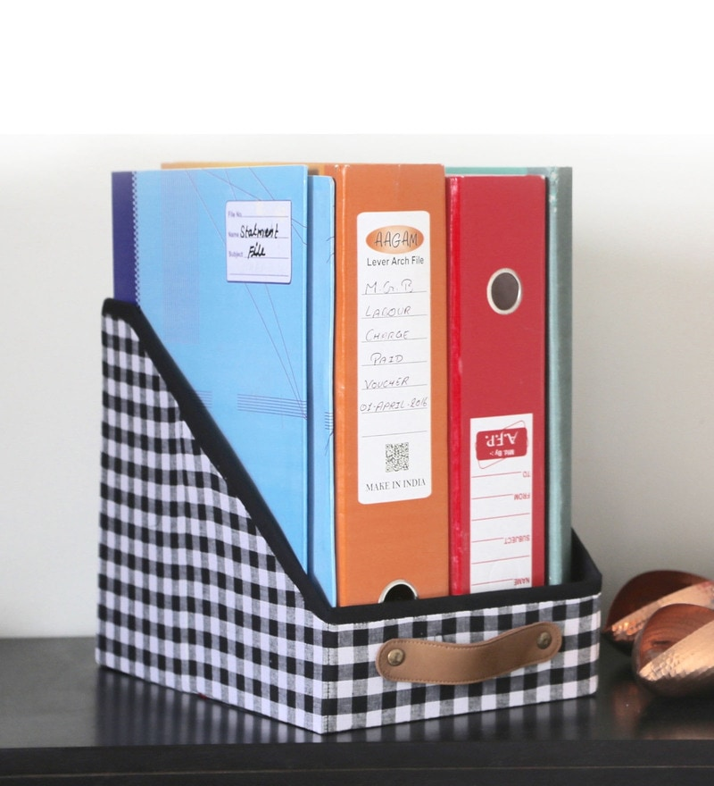 My Gift Booth Cotton & MDF Black File & Magazine Organiser