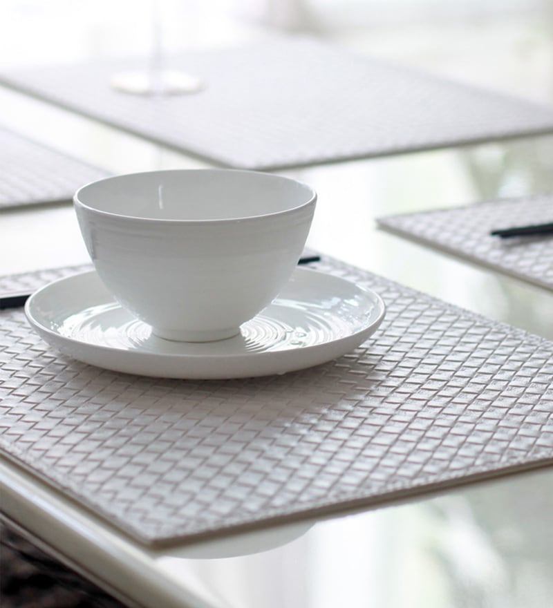 My Gift Booth Knitted White Faux Leather Table Mat - Set of 6