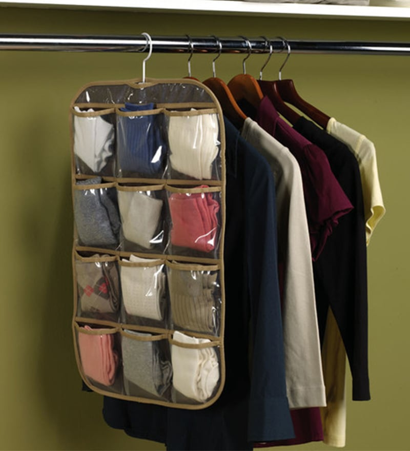 Non-Woven & Net Brown Clothes Organiser by My Gift Booth