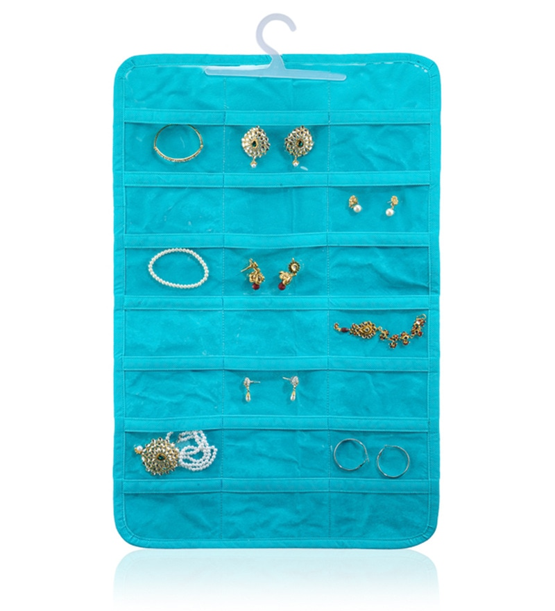 Non-Woven & Pvc Sky Blue 42 Pocket Jewellery Organiser by My Gift Booth