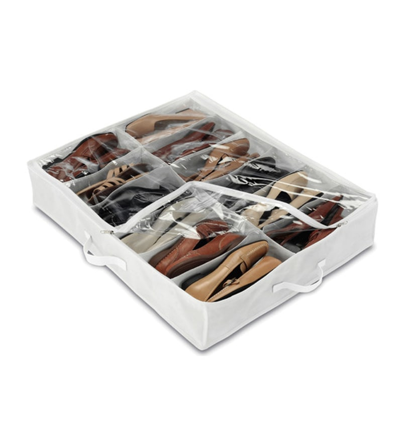 My Gift Booth Non-Woven White Under Bed Shoe Organiser