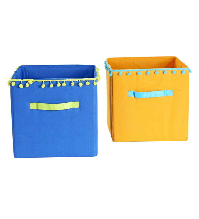My Gift Booth Pom Pom Lace Non-Woven Storage Bins - Set of 2