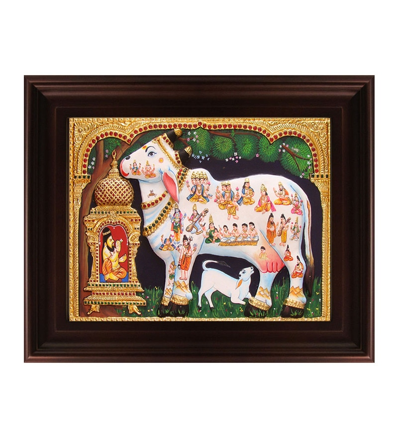 Multicolour Gold Plated Kamdhenu Framed Tanjore Painting by MyAngadi