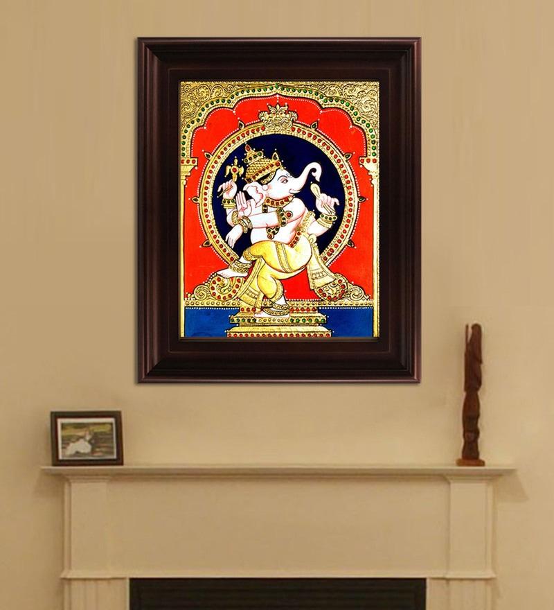 Myangadi Multicolour Gold Plated Natya Ganesha Framed Tanjore Painting