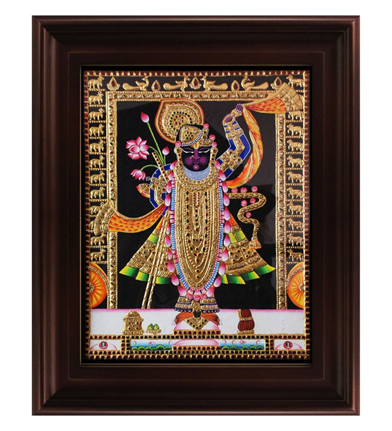 Multicolour Gold Plated Krishna Framed Tanjore Painting by MyAngadi