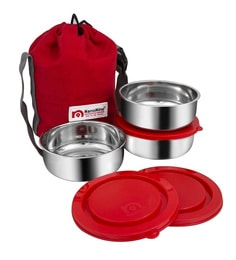 Nano 9 Brunch Silver & Red Stainless Steel 250 ML Lunch Box - Set Of 3