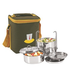 Nano 9 Insulated Silver Stainless Steel 1.2 L Tiffin Box - Set Of 3
