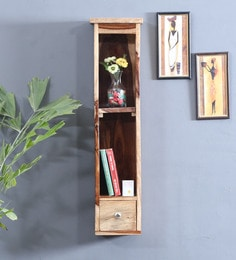 Solid Wood Wall Shelf With One Drawer In Natural Finish