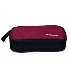 Nayasa Crunchy Munchy Super Big Maroon Plastic & Stainless Steel Lunch Box- Set Of 5