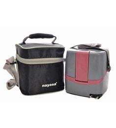 Nayasa Quich Heat Cube Grey Steel Lunch Box - Set Of 5