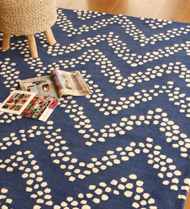 Blue Wool 91 x 63 Inch Geometric Pattern Area Rug by The Rug Republic
