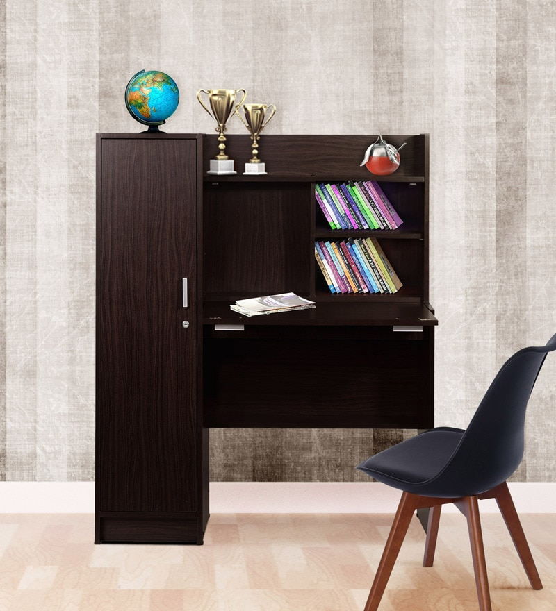 Nakamura Study Table with Cabinet in Dark Brown Finish by Mintwud