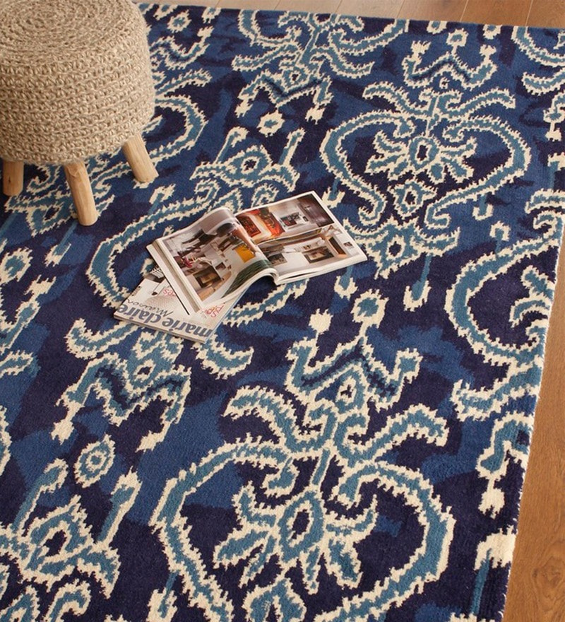 Blue Wool 91 x 63 Inch Indian Ethnic Area Rug by The Rug Republic