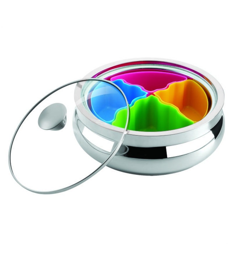 Nano 9 Desi Treat Stainless Steel 1150 ML Casserole with Dry Fruit Bowls & Glass Lid