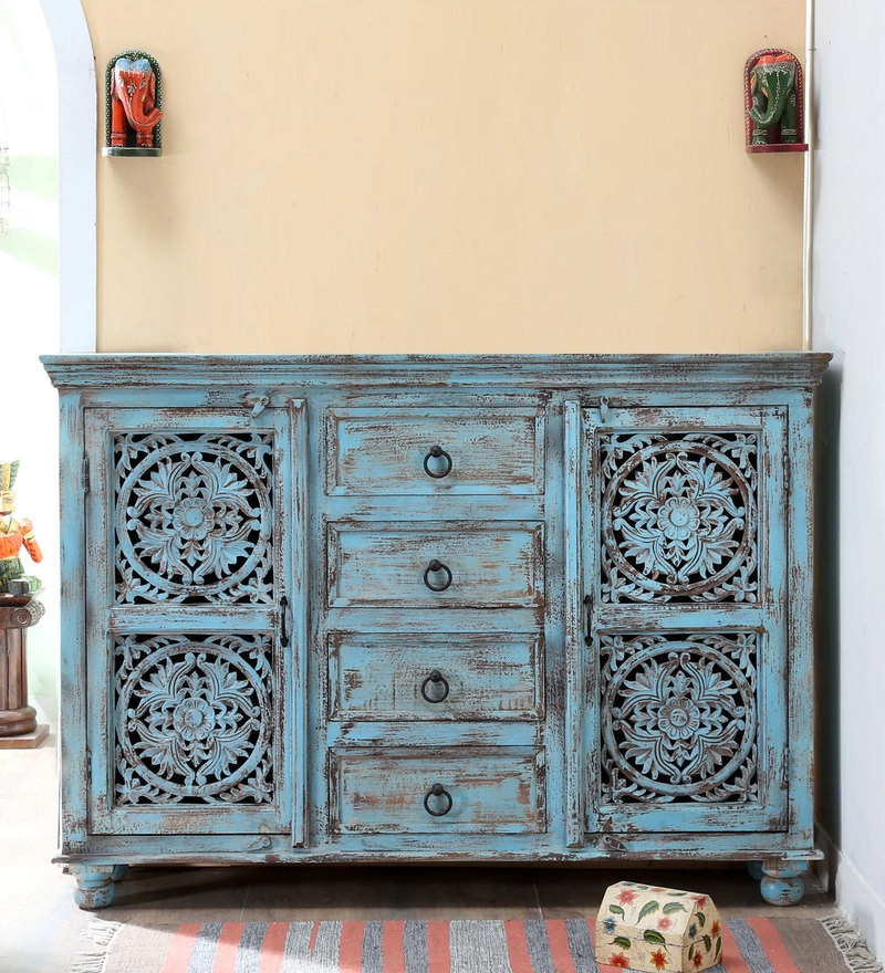 Natina Sideboard in Blue Distress Finish by Bohemiana