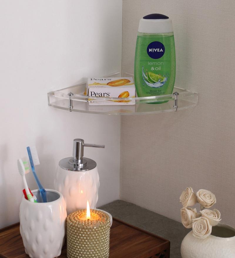Navrang Transperent Clear Acrylic Big Corner Shelf